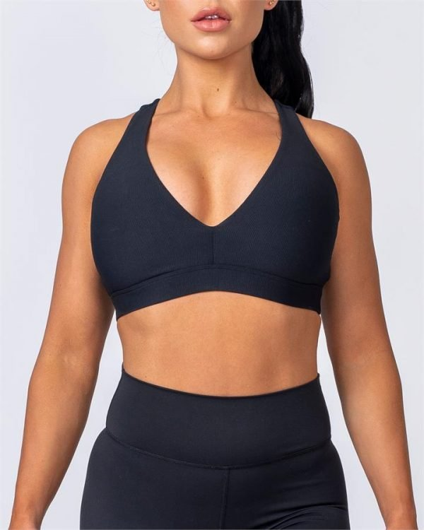 Ribbed Deep V Bra - Black - M