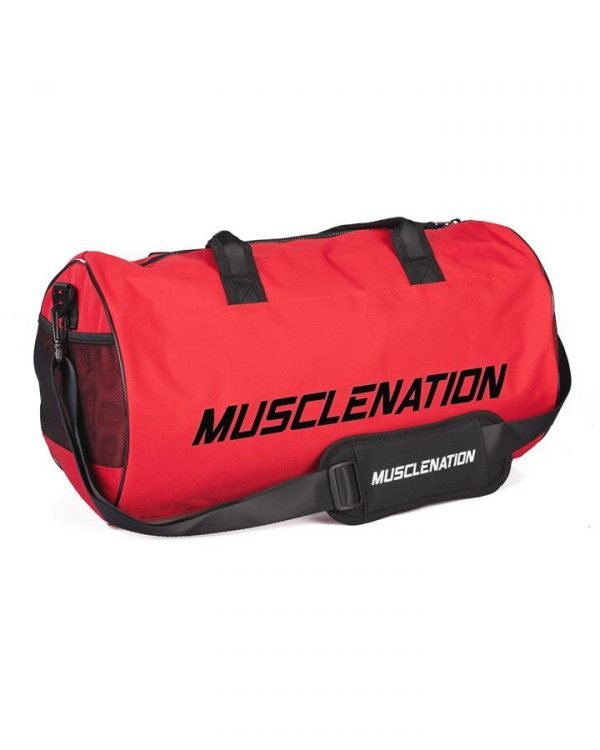 Round Premium Gym Bag - Red (black logo)