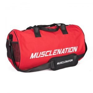 Round Premium Gym Bag - Red (white logo)