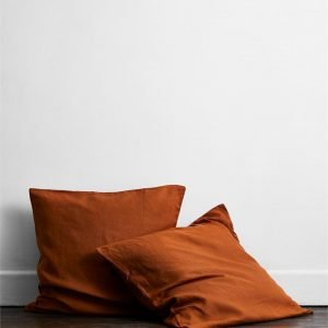 Rust 100% Flax Linen European Pillowcases (Set of Two) - Bed Threads