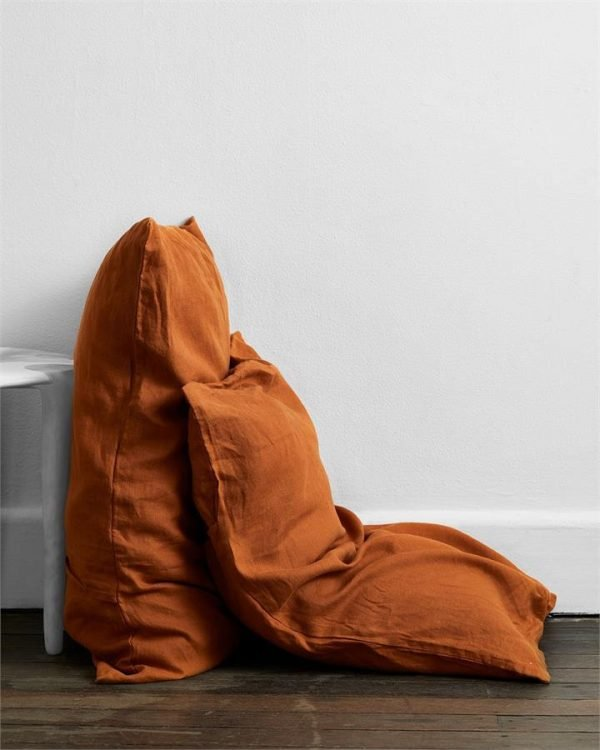 Rust 100% Flax Linen Pillowcases (Set of Two) - Bed Threads