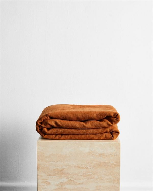 Rust 100% French Flax Linen Throw - Bed Threads