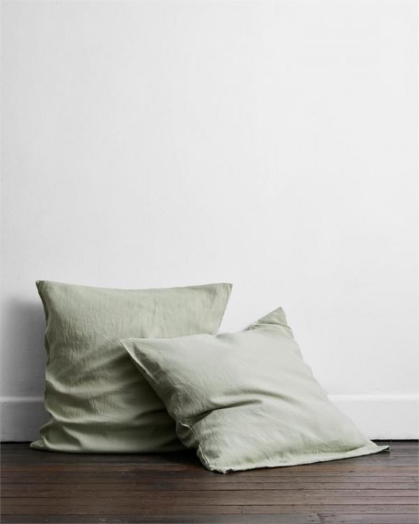 Sage 100% Flax Linen European Pillowcases (Set of Two) - Bed Threads