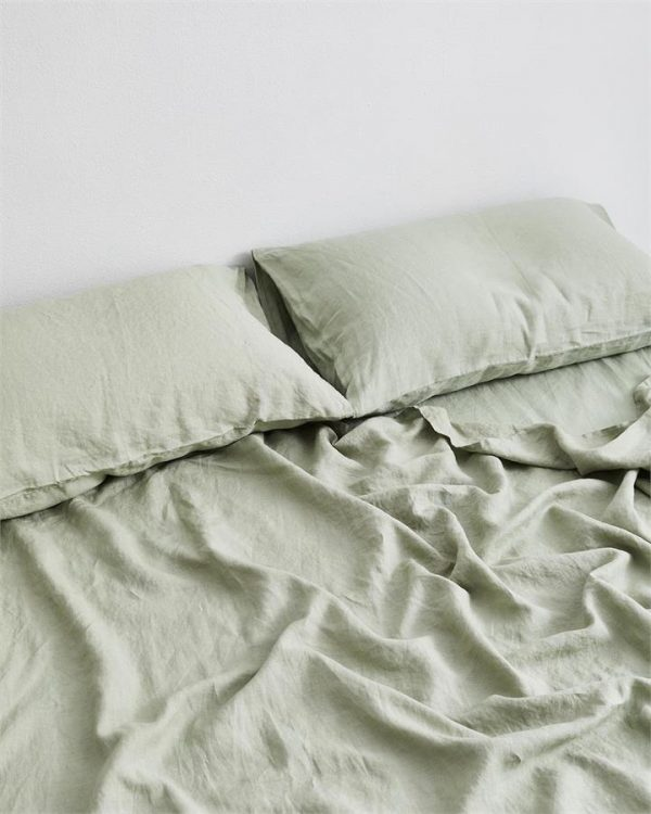 Sage 100% Flax Linen Fitted Sheet - Bed Threads