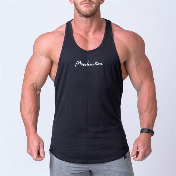Signature Y Back Singlet - Black - M