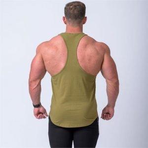 Signature Y Back Singlet - Khaki - M