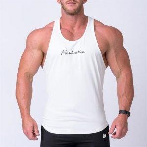 Signature Y Back Singlet - White - XXXL