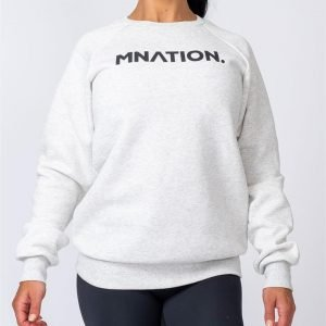 Slouchy Jumper - White Marl - S