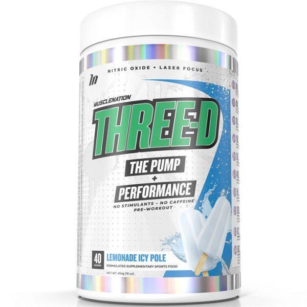 THREE-D Pump + Performance Pre-Workout Non Stim LEMONADE ICY POLE