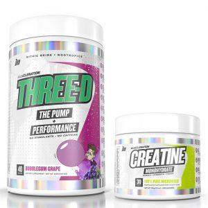 THREE-D Pump + Performance (non-stim pre) + Creatine STACK - Select 1: Creatine Monohydrate