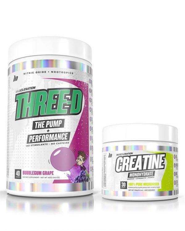 THREE-D Pump + Performance (non-stim pre) + Creatine STACK - Select 1: THREE-D Pump + Performance Pre-Workout