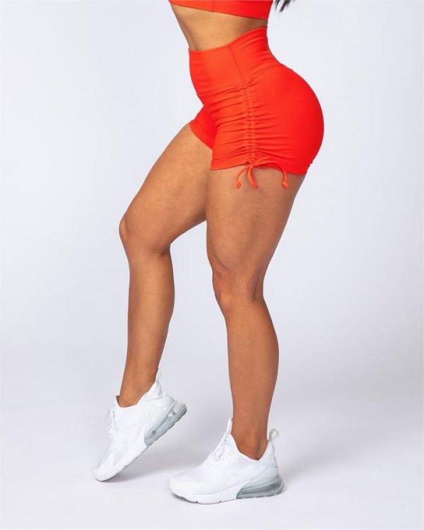 Tie Up High Waist Scrunch Shorts - Infrared - L