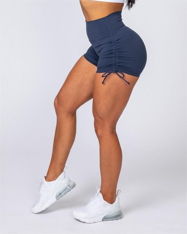 Tie Up High Waist Scrunch Shorts - Navy Blue - S