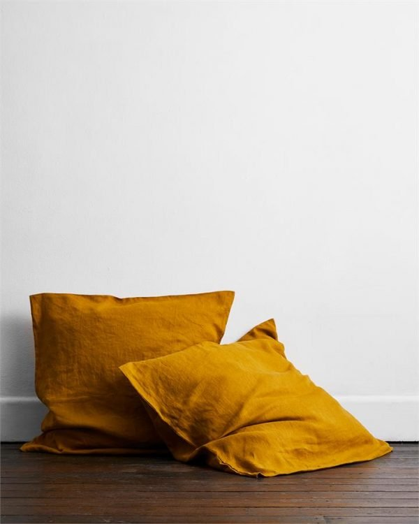 Turmeric 100% Flax Linen European Pillowcases (Set of Two) - Bed Threads