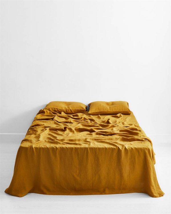Turmeric 100% Flax Linen Flat Sheet - Bed Threads