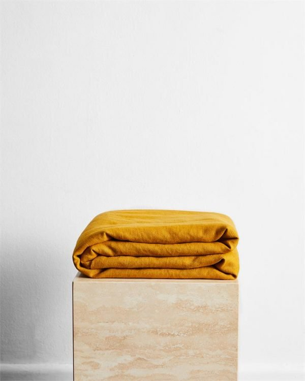 Turmeric 100% French Flax Linen Throw - Bed Threads