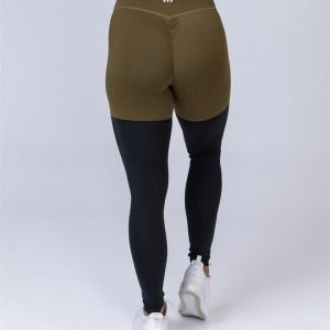 Two Tone Scrunch Leggings - Khaki / Black - M