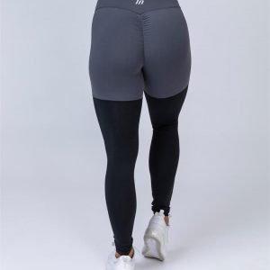 Two Tone Scrunch Leggings - Shadow Grey / Black - L