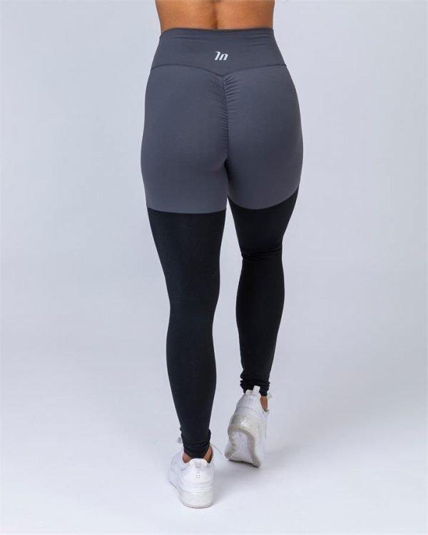 Two Tone Scrunch Leggings - Shadow Grey / Black - S