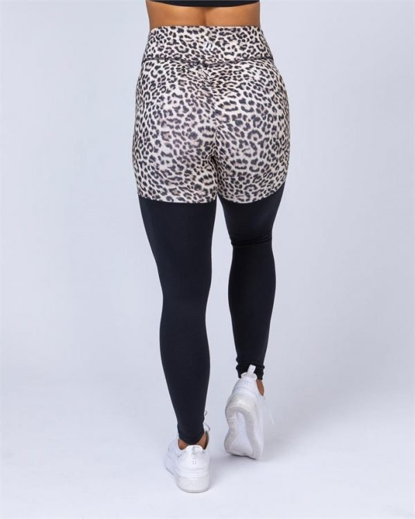 Two Tone Scrunch Leggings - Yellow Leopard / Black - M