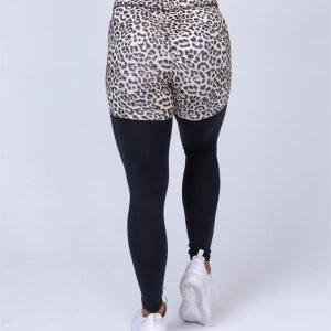 Two Tone Scrunch Leggings - Yellow Leopard / Black - XS