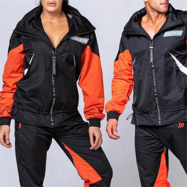 Unisex Retro Jacket - Black / Blood Orange - XXL