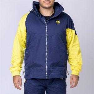 Unisex Retro Jacket - Navy/ Yellow - L