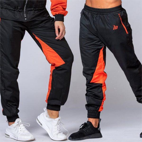 Unisex Retro Tracksuit Pants - Black / Blood Orange - L
