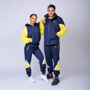 Unisex Retro Tracksuit Set - Navy / Yellow - UNISEX RETRO JACKET