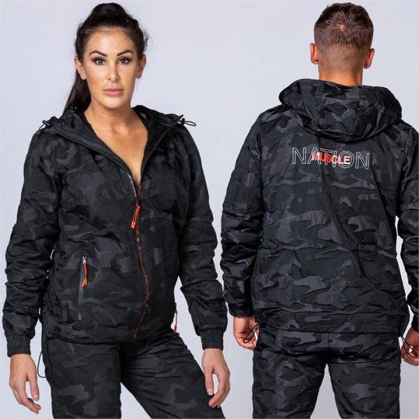 Unisex Tracksuit Jacket - Black Camo - M