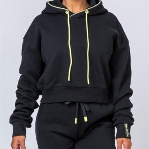 Warm-Up Cropped Hoodie - Black - L