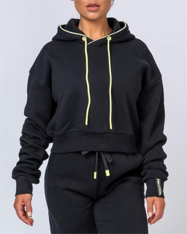 Warm-Up Cropped Hoodie - Black - S