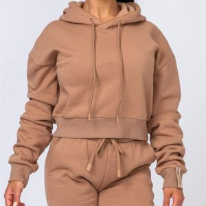 Warm-Up Cropped Hoodie - Latte - XXL