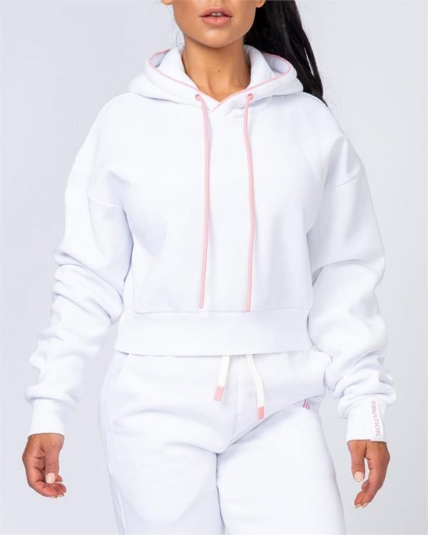 Warm-Up Cropped Hoodie - White - L