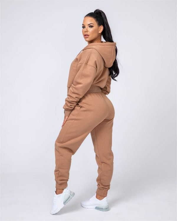 Warm-Up Tracksuit Set - Latte - Warm-up Cropped Hoodie