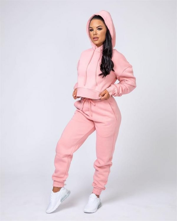 Warm-Up Tracksuit Set - Pink - Warm-up Cropped Hoodie