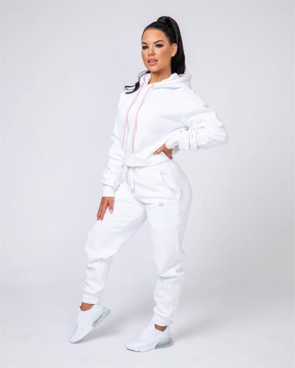 Warm-Up Tracksuit Set - White - Warm-up Cropped Hoodie