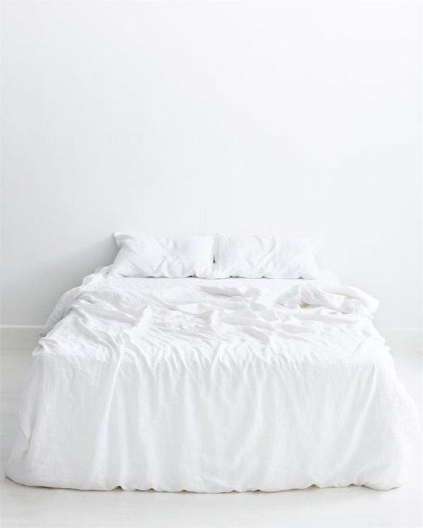 White 100% Flax Linen Bedding Set - Bed Threads