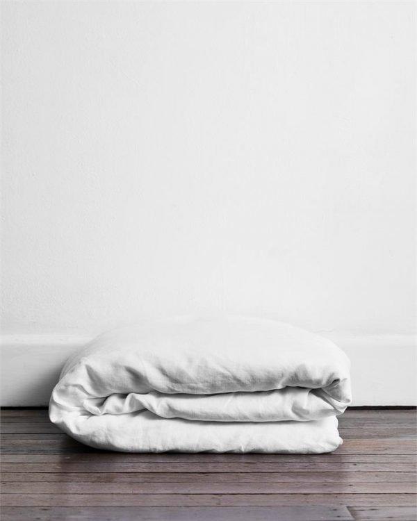 White 100% Flax Linen Duvet Cover - Bed Threads