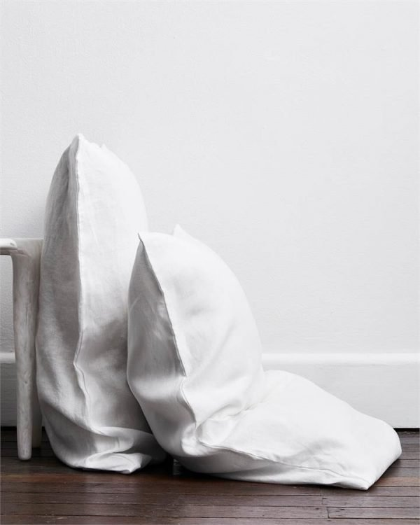 White 100% Flax Linen Pillowcases (Set of Two) - Bed Threads