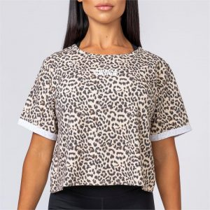 Womens Casual Muscle Nation Tee - Leopard - XL