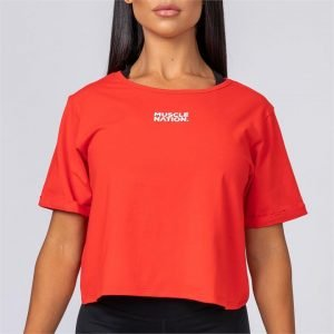 Womens Casual Muscle Nation Tee - Red - L