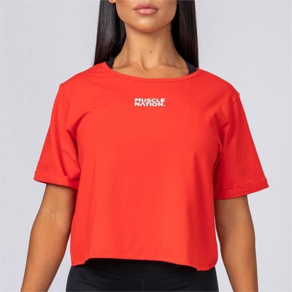Womens Casual Muscle Nation Tee - Red - M