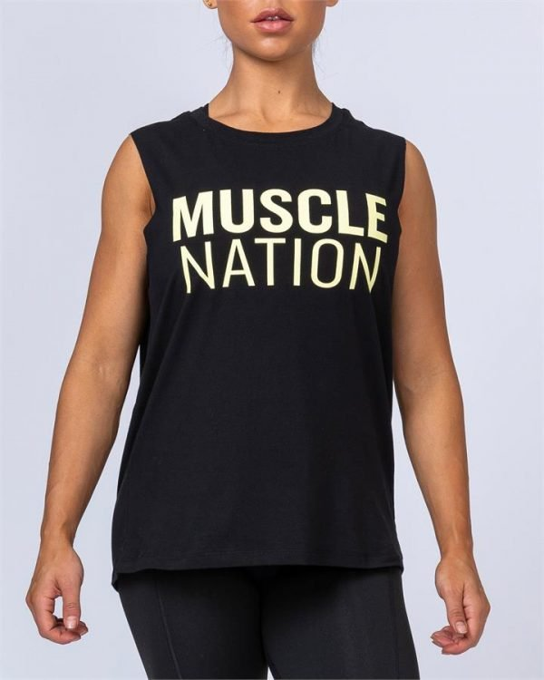 Womens Classic Muscle Tank - Black - S