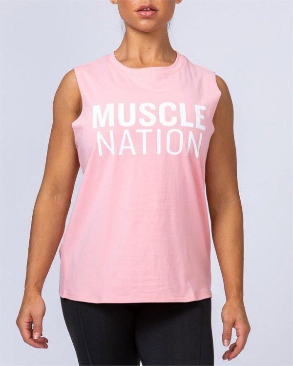 Womens Classic Muscle Tank - Pink Sherbet - M