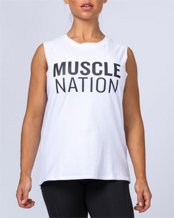 Womens Classic Muscle Tank - White - L