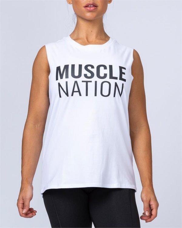 Womens Classic Muscle Tank - White - XL