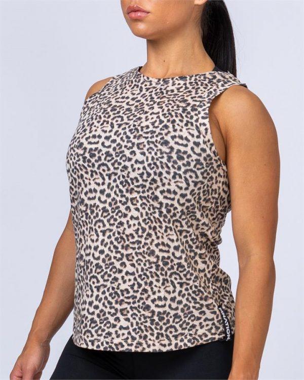 Womens Muscle Tank - Yellow Leopard - M