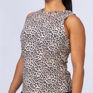 Womens Muscle Tank - Yellow Leopard - XS