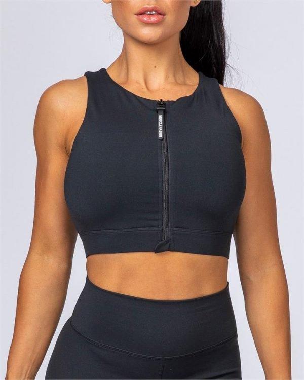 Zip Up Bra - Black - XL